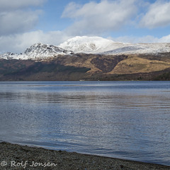 Ben Lomond (rjonsen) Tags: munro mountaion scotland nature snowcap snow covered blue sky clouds loch lomond lake water reflection