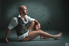 Tomi 07 (WF portraits) Tags: svk man male model portrait studio white shirt gilet nopants naked nude muscles fitness gym shavedhead beard waistcoat