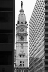 Between the Lines (street level) Tags: philadelphia architecturalphotography architecture cityhall cityofbrotherlylove philly blackandwhitephotography williampenn urbanlandscape clocktower pennsylvania skyscrapers