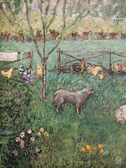 Le Grand Jardin (detail) (sylvain.collet) Tags: france chien art poules lesnabis enclos peinture coq animaux