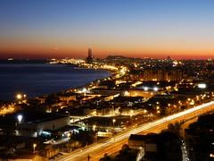 Skyline de Barcelona, Sant Adrià i Badalona al capvespre (bertanuri bcn) Tags: nigth nuit nit skyline sub atardecer beach water agua mar mediterraneo night light sunset bcn barcelona