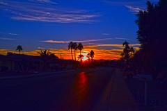 Winter Solstice (oybay©) Tags: solstice wintersolstice sunset arizona suncitywest az mystreet rockspringsdrive color colors sky skies clouds palmtrees palm trees silhouette blue orange reflection shadow street