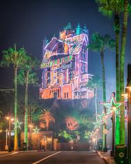 Hollywood Tower Gingerbread House (Justin in SD) Tags: disney disneyworld hollywoodstudios waltdisneyworld towerofterror hollywood palmtrees night dark late empty themepark