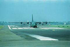 Berlin Flughafen Tempelhof THF 1988 US Air Force (rieblinga) Tags: berlin 1988 flughafen tempelhof us air force hercules c130 thf tag der offen tür ankunft analog revue ac 3 dia 100