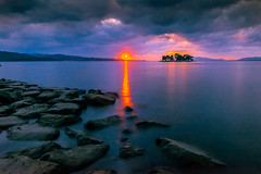 sunset 9074 (junjiaoyama) Tags: japan sunset sky light cloud weather landscape orange yellow purple blue color lake island water nature winter reflection calm dusk serene rocks sun ray beam
