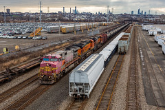 The Yard Split (sully7302) Tags: bnsf csx transportation csxt c449w santa fe atsf ridgefield new jersey yard yards freight meadowlands crude oil train k139 nj trains transport urban warbonnet superfleet york manhattan skyline bellmans