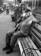 Running out of steam (Wendy G Davies) Tags: rest break cuppa tea brew driver steamtrain portrait mono bnw monochrome blackandwhite