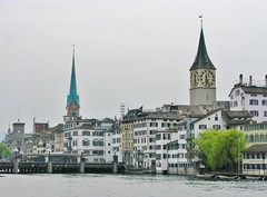 Fraumunster and St. Peter's Church (right), Zurich, Switzerland (Snuffy) Tags: fraumunsterst peters churchplaces worship zurich switzerland