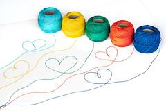 Hearts (donnicky) Tags: artandcraft colorful creative fiveobjects heart publicsec stilllife studioshot thread whitebackground