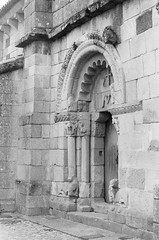 San Pedro Rates (?) 2011 (amgirl) Tags: entrance doorway archway church sanpedrorates caminoportuguese portotosantiago scan bw film 2011 september village