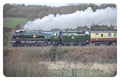 Clan Line makes it to Sherborne on 'The  Christmas Carols' special steam train charter 20 Dec 2018. (livinginhtab) Tags: clanline steamtrain 35028 christmas sherborne somerset winter