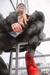 MERIT-2150153 (qauqe) Tags: tartu estonia model female girl woman beanie chick fashion ootd leica timberland footwear red urban streetwear furcoat fur jacket smile laughter winter