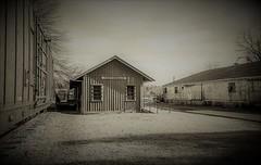 Depot and More mono (Neal3K) Tags: georgia kodakportra400 porterdalega depot rr railroaddepot vintage historic