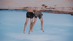 Who.What.Where.When.Why.How? (robertcrispe) Tags: photography art contemporary filmmaking dance motion surreal mood identity portrait australia collaboration exploration men ideas beach hanging upside down sky legs