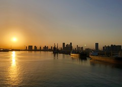 UAE (Abu Dhabi) Wonderful sunrise at Harbor (ustung) Tags: ships reflection seascape landscape sunrise harbour abudhabi unitedarabemirates uae