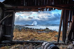 View from a boathouse (Usstan) Tags: 1224mm d750 flø lens locations møreogromsdal norge norway ocean seasons seaspray sigmaart sky sunnmøre ulstein winter boathouse building clouds costal day landscape nikon sea seascape storm water waves westcoast wideangle wind no