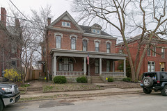 House — Lexington, Kentucky (Pythaglio) Tags: house lexington kentucky unitedstatesofamerica us dwelling residence historic twostory brick segmentalarched 11windows hoodmolds cornice dormer porch columns tuscan balustrade fayettecounty