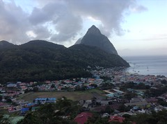 Early morning Pitons with clouds - Soufriere, St Lucia (h_savill) Tags: 2019 february feb holiday travel vacation tourist trip explore worldwide st lucia caribbean antilles windward isle soufriere piton view landscape sea water marine stlucia town buildings cloud