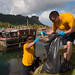Sailors participate in a roadway cleanup event in Pohnpei, Federated States of Micronesia
