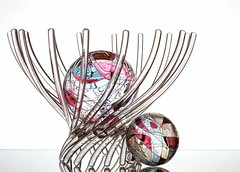 In-n-Out (Karen_Chappell) Tags: ball round circle glass white pink pastel orb sphere stilllife basket blue yellow colourful colours colour