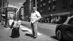Travelling man at Östermalmstorg in Stockholm Sweden31/7 2016. (photoola) Tags: stockholm street sv östermalmstorg monochrome blackandwhite sweden photoola man