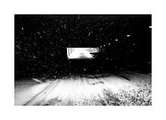 Millenium Falcon Style (SebRiv) Tags: noiretblanc blizzard streetphoto tunnel snowstorm streetphotography montréal snow faulconmillenium contrast monochrome fromthecar hiver tempête winter blackandwhite neige