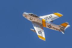 North American F-86 Sabre (gilamonster8) Tags: f86 aircraft dmafb warbird fighterplane wing fly teleconverter flickr northamericanf86sabre fighter blue usaf eosef400mmf56lusm 2018heritageflighttraining cockpit jollyroger airshow tucson arizona 7dmarkii yellow sabre flight