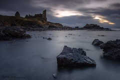 Dunure Dusk (Pureo) Tags: amateur ayrshire beach canon coast canondslr castle dusk dark exposure goldenhour harbour infocus longexposure le leefilters landscape lee littlestopper pebbles quiet rocks seascape sea sky scotland silky water waterscape dunnottarcastle dunurecastle 5d 3