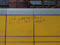We're screwed! (mkorsakov) Tags: dortmund nordstadt hafen graffiti tagging parole slogan anti fword fck post packstation gelb yellow