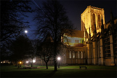 York Minster from Dean's Park (robin denton) Tags: yorkminster minster cathedral gothiccathedral cathedralcity deanspark nightphotography nightshot moon york northyorkshire yorkshire churchyard church worship churchofengland