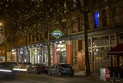 Winter's Hotel (Clayton Perry Photoworks) Tags: vancouver bc canada winter explorebc explorecanada night lights gastown