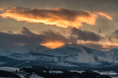 Darton and Angeline (kevin-palmer) Tags: bighornmountains bighornnationalforest wyoming buffalo february winter cold snow evening sunset gold golden color colorful orange dartonpeak peakangeline clouds hospitalhill hdr nikond750 nikon180mmf28 telephoto
