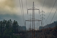 POWER line (peter.vrab2) Tags: tree electrical electricity engineering metal electric tower sky storm technology structure volt plant sunset watt grid blue voltage industrial wire energy cable industry clouds danger pole generator transformer steel sunrise line supply network construction power tall station substation high powerline transmission pylon