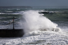 Pier against Freya (mqmquilter) Tags: coast coasts cornwall freya porthleven seascapes stormwatch waves