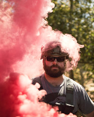 hot head (Andy Kennelly) Tags: hot head smoke portrait pink beard helmet glasses