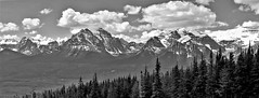 MOUNTAINSCAPE (Rob Patzke) Tags: mountain landscape lx100 trees snow ice valley peak naure bw monochrome clouds panarama