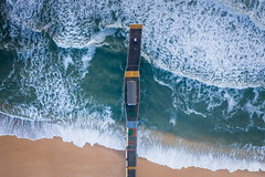 Belmar Fishing Pier (overhead view) (Mike Ver Sprill - Milky Way Mike) Tags: mavic pro 2 zoom landscape seascape water ocean beach belmar fishing pier new jersey nj waves east coat flying fly above top down overhead birds eye view