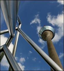 The tower and the sculpture (Logris) Tags: rhinetower tower turm rheinturm düsseldorf dusseldorf skulptur sculpture