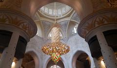 The Grand Mosque (Khadija Chughtai) Tags: mosque sheikhzayedgrandmosque abhudhabi dubai uae mobilephotography mobilecamerapicture chandlelier lights pillars architecture structure interior building