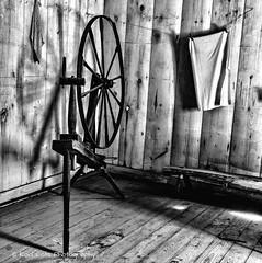 Spin some yarn. (Kool Cats Photography over 11 Million Views) Tags: spinningwheel yarn wheel historic oklahoma blackandwhite bw monochrome
