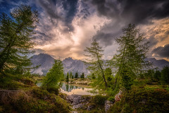 Quiete a sera (Gio_guarda_le_stelle) Tags: dolomiti dolomites dolomiten sunset afterglow lake reflection sky clouds nature wildlife trees alps spring evening quiet atmosphere 4 i peace outdoor