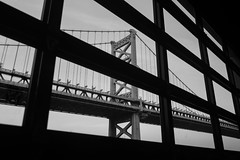 Ben Franklin Bridge (street level) Tags: benfranklinbridge cityofbrotherlylove urbanlandscape philly architecture blackandwhite philadelphia