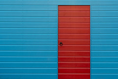 DSC_1843 (stu ART photo) Tags: minimal abstract urban city wall door wood lines blue red contrast hut