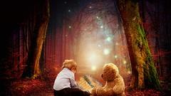 Kindheitsträume (Delbrückerin) Tags: kind teddy träume wald child
