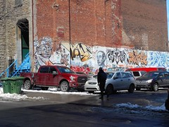 Bleury Street (navejo) Tags: montreal quebec canada wall art mural painting cars snow person bricks