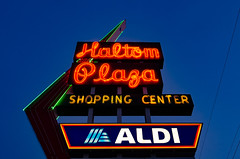 Haltom Plaza (dangr.dave) Tags: haltomcity fortworth tx texas downtown historic architecture cowtown tarrantcounty panthercity neon neonsign haltomplaza shoppingcenter aldi