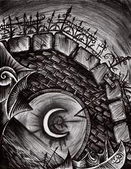 Bridge to Nowhere (Skyler Brown Art) Tags: abandoned angst architecture art artwork bw blackwhite blackandwhite bridge charcoal creepy dark darkness depressing drawing fear gothic greyscale ink macabre moon ominous paper pen sad surreal