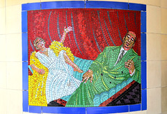 Hitchcock And Dietrich (R~P~M) Tags: train railway station mural mosaic alfredhitchcock leytonstone centralline londonunderground london england uk unitedkingdom greatbritain