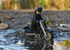 Muddy Water (captain_joe) Tags: toy spielzeug 365toyproject lego minifigure minifig motorrad motobike motocycle cathryn puddle pfütze