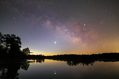 Early Morning Colors on Oswego Lake (Douglas Heusser Photography) Tags: milky way galaxy venus jupiter planets astronomy space stars astrophotography photo long exposure wide angle lens canon rokinon 14mm landscape ocean city nj new jersey heusser oswego lake pine barrens wharton state forest reflection galactic